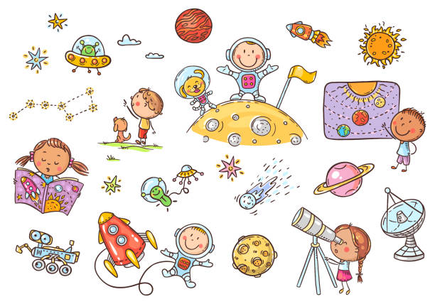 Cartoon space and astronauts set, vector cliparts for kids vector art illustration