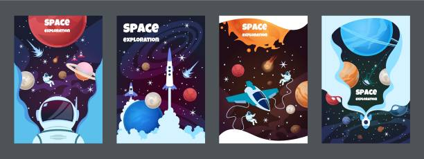 Cartoon space banners. Galaxy universe science child astronaut modern planet poster study banner. Vector brochure space Cartoon space banners. Galaxy universe science child astronaut modern planet poster study banner. Vector brochure space frame astronaut floating in space stock illustrations