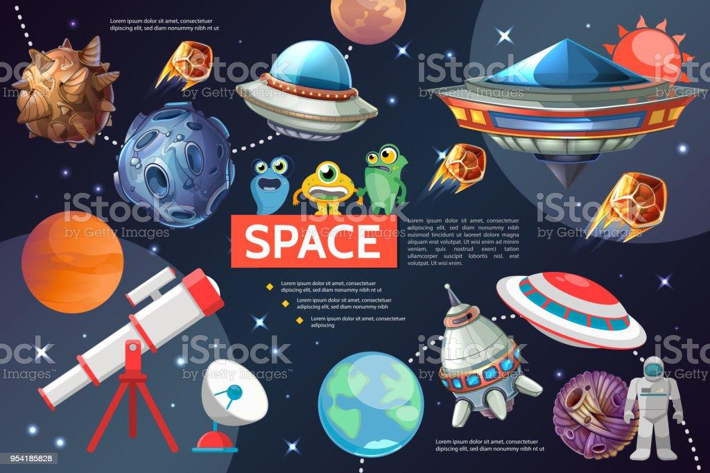 Cartoon Kollektion Space Elemente – Vektorgrafik