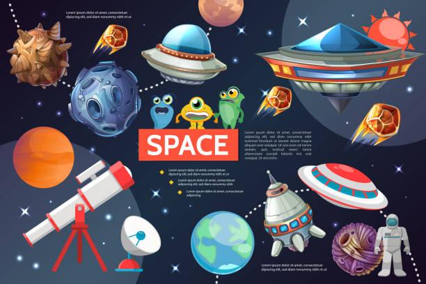 cartoon kollektion space elemente - erforschung des weltalls stock-grafiken, -clipart, -cartoons und -symbole