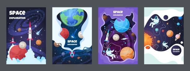 Cartoon space flyer. Universe galaxy banner planet science poster astronaut poster frame brochure cover design. Vector space concept Cartoon space flyer. Universe galaxy banner planet science poster astronaut poster frame brochure cover design. Vector space concept set space stock illustrations
