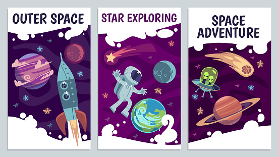 Cartoon space flyers. Astronomy future presentation. Galaxy explorers, universe journey with astronaut, comet and rocket vector poster