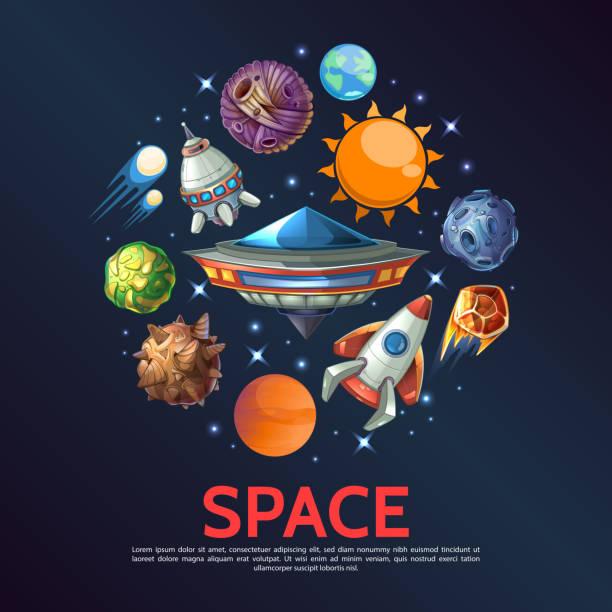 Cartoon Space Round Concept vector art illustration