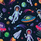 Bright space background of astronauts, rocket, aliens, ufo, planets and other