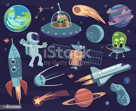 Cartoon space set. Cute astronauts and ufo aliens, satellite planets and stars. Meteorite and spaceship kids wallpapers vector print