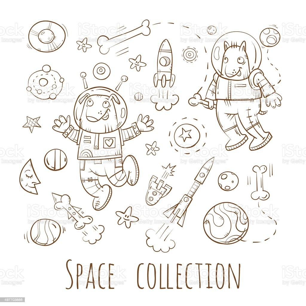 Cartoon space set. vector art illustration