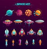 Cartoon space war concept.