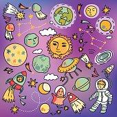 Cartoon spaceship icons