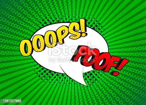 istock Cartoon speech bubble with phrase Oops and Poof. 1281327963