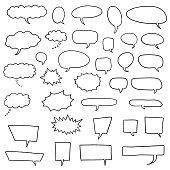 Cartoon speech bubbles set - comic books style black dialog cloud vectors.