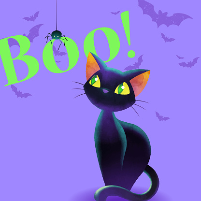 Cartoon spider and cat design layout. Pillowcase and T-shirt design concept. Spider boo cat on violet background. Vector illustration template.