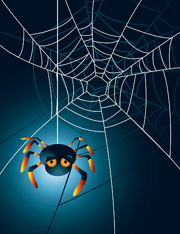 Cartoon spider hanging from a web