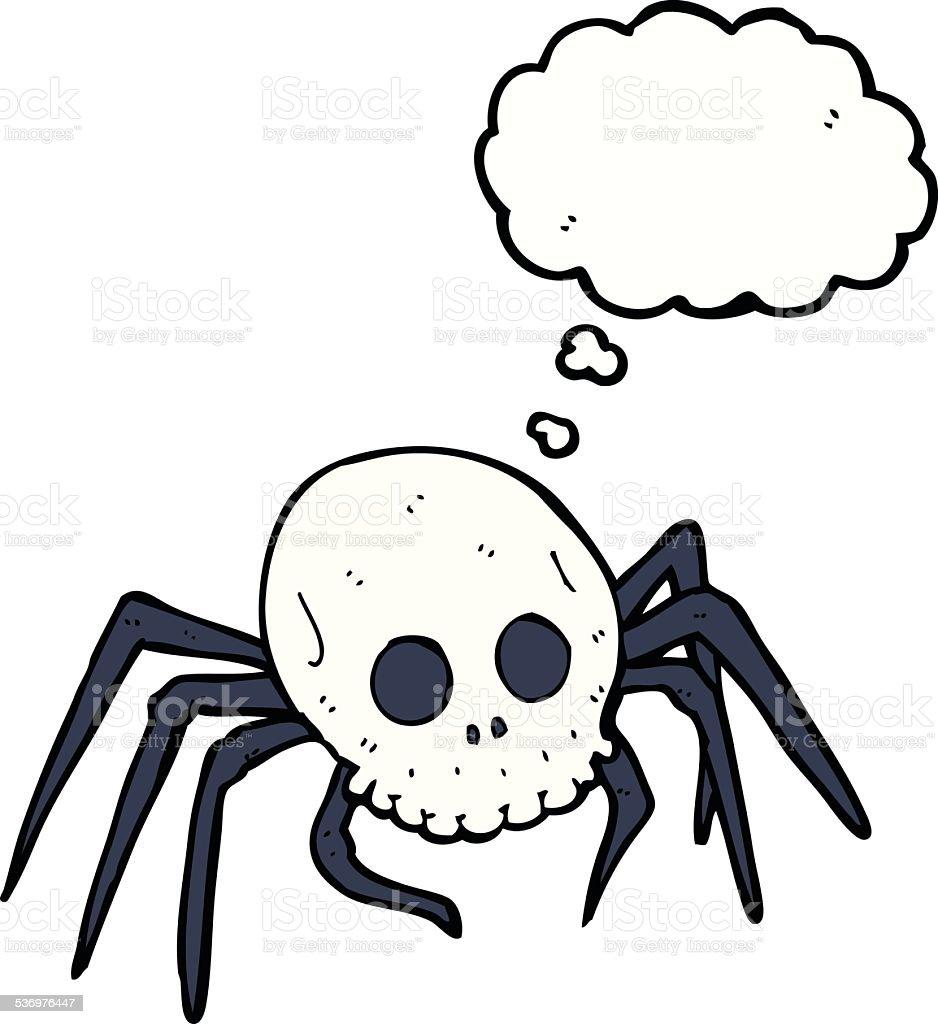 animados de halloween assustador crânio aranha com balão de