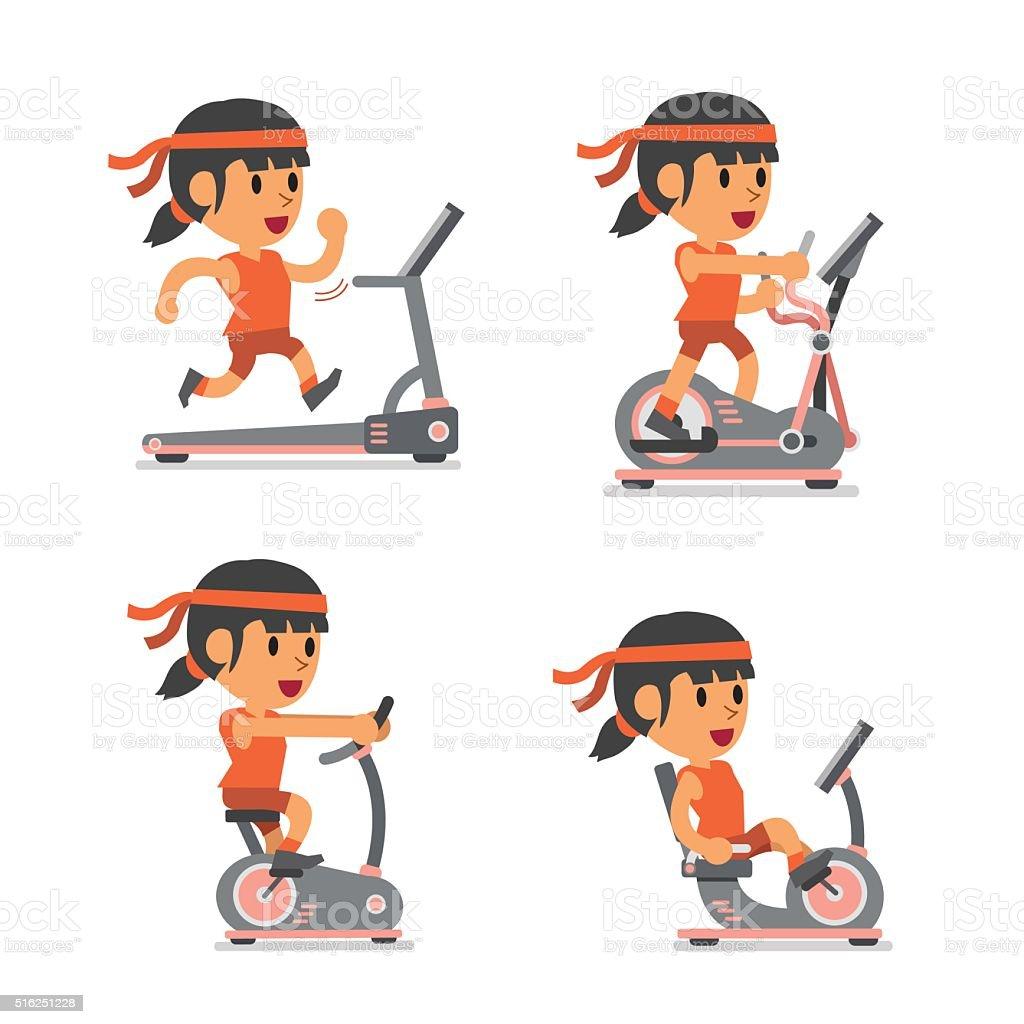 Vetores De Desenho De Esporte Mulher Com Aparelhos De Exercicio E