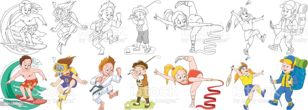 Ilustración de Dibujos Animados Los Niños Deportivo Conjunto y más ...