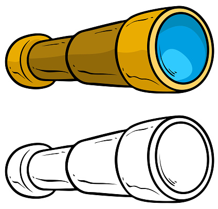 Download Cartoon Spyglass Telescope Vector For Coloring Stock Illustration - Download Image Now - iStock