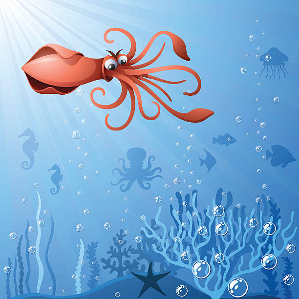 comic tintenfisch - kalamar stock-grafiken, -clipart, -cartoons und -symbole