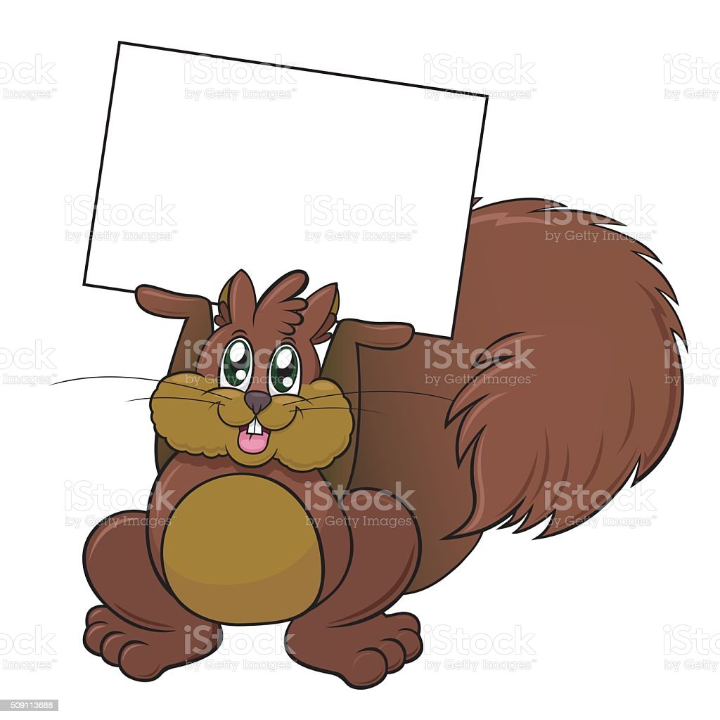 Cartoon Squirrel Holding a Blank White Sign vector art illustration