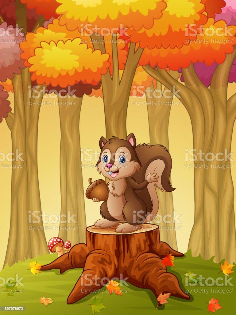 Ilustración de Ardilla De Caricatura Con Bellota En El Bosque y más ...