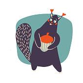 istock Cartoon squirrel. Vector hand-drawn illustration. Modern vector art for poster, nursery and kids apparel 1324513265