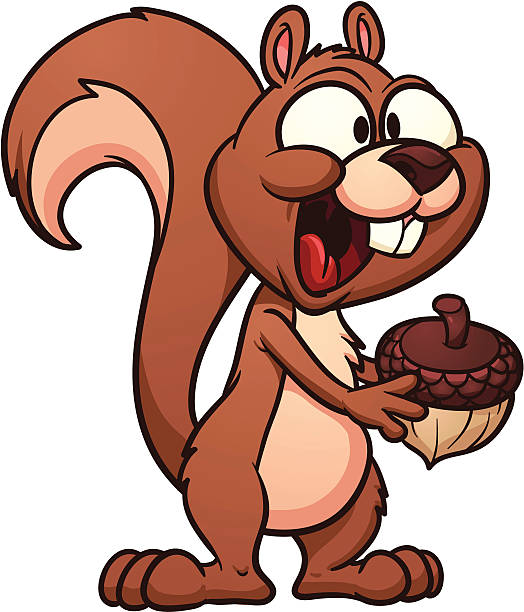 cartoon-eichhörnchen - nuss stock-grafiken, -clipart, -cartoons und -symbole