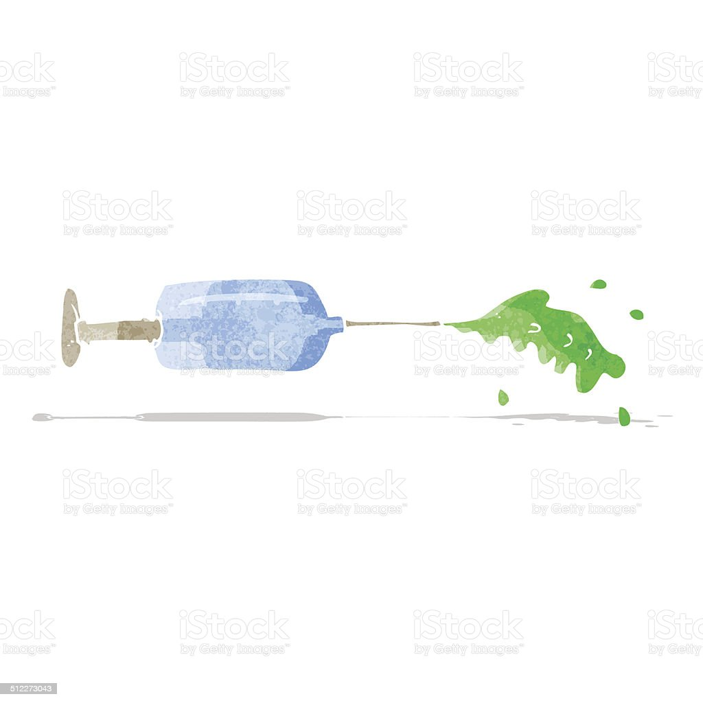 cartoon squirting medical needle vector art illustration