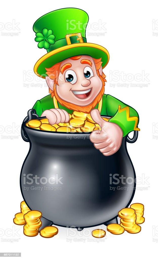 Cartoon St Patricks Day Leprechaun and Pot of Gold vector art illustration