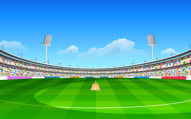 A cartoon stadium for the game of cricket illustration of stadium of cricket with pitch stadium stock illustrations