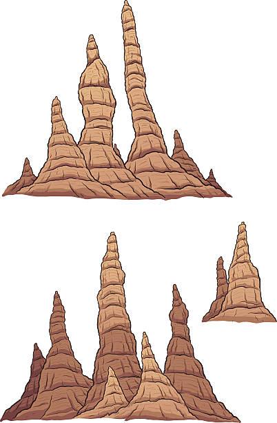 bildbanksillustrationer, clip art samt tecknat material och ikoner med cartoon stalagmites - stalagmit