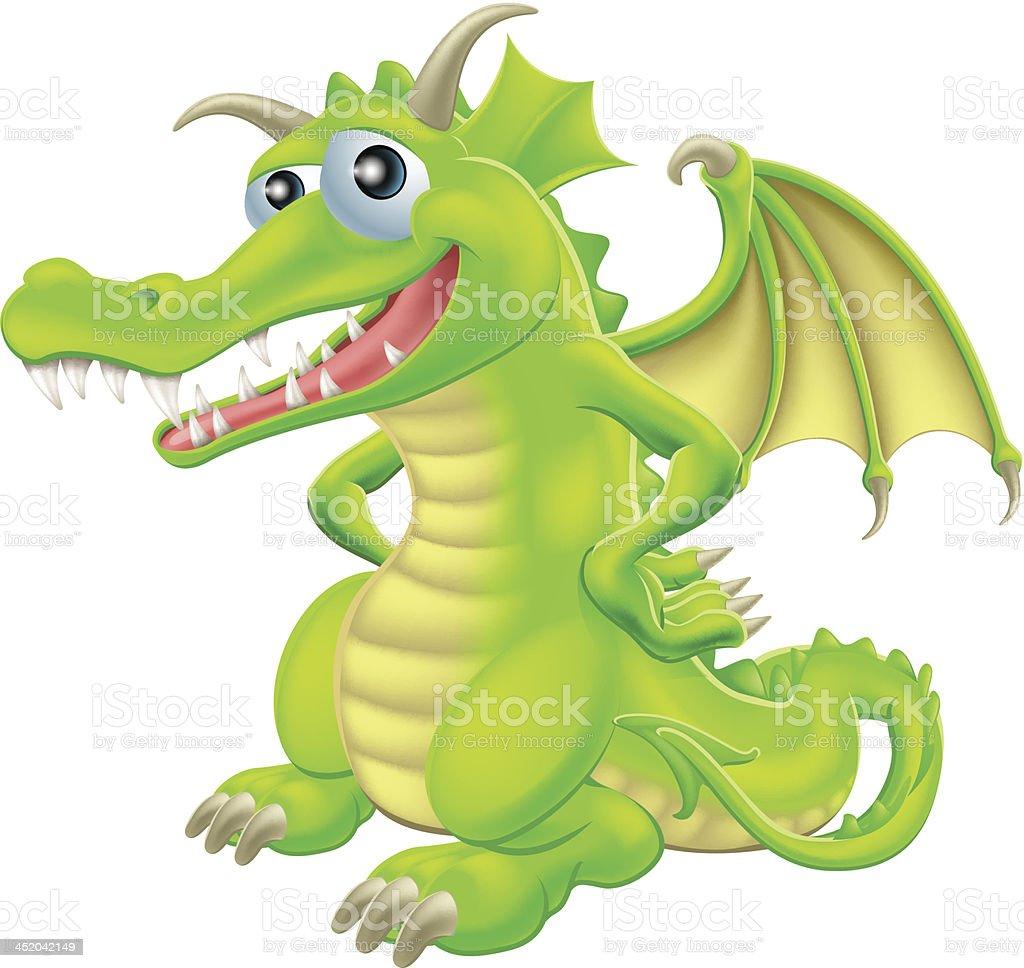 Cartoon Standing Dragon royalty-free stock vector art