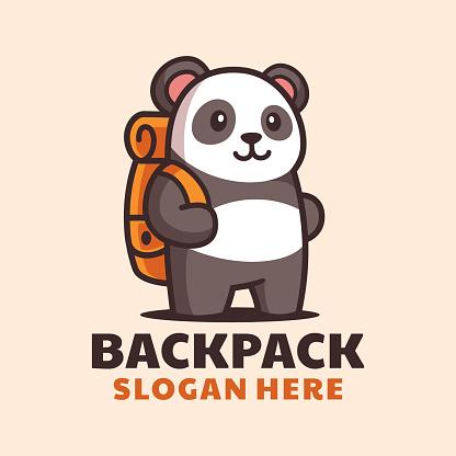 Cartoon Standing Panda with Backpack