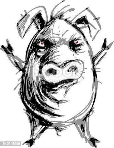 istock Cartoon standing pig with hoofs raised above its head 943046598