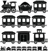 cartoon steam engine train in black and white