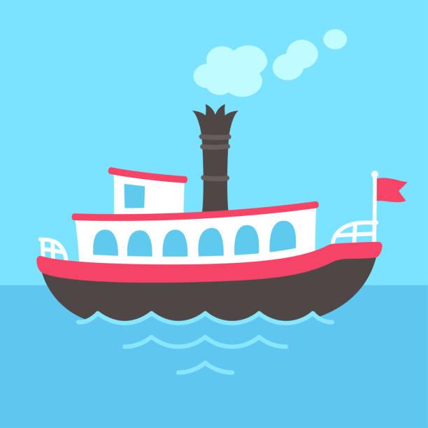 stockillustraties, clipart, cartoons en iconen met cartoon stoomboot schip - rondvaartboot