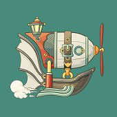 Cartoon steampunk styled flying airship with baloon and propeller
