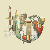Cartoon steampunk styled flying airship with propeller and wheel