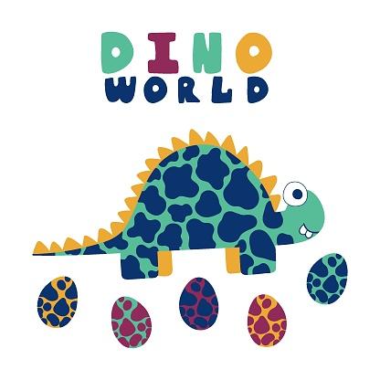 Cartoon stegosaurus and eggs print for kids apparel stock vector illustration