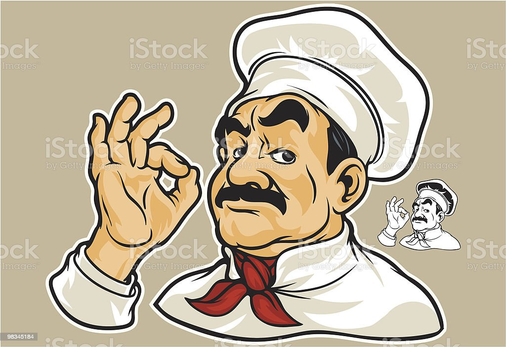 Cartoon stereotypical chef making the OK symbol royalty-free cartoon stereotypical chef making the ok symbol stock vector art & more images of adult