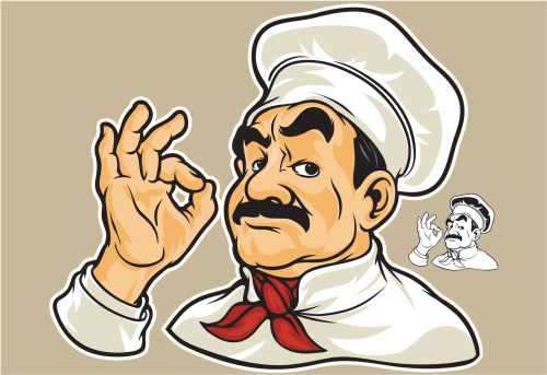 Cartoon stereotypical chef making the OK symbol