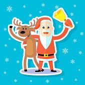 colored cartoon sticker flat art illustration deer and Santa Claus hugging