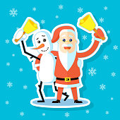 colored cartoon sticker flat art illustration of Snowman with Santa Claus hugging