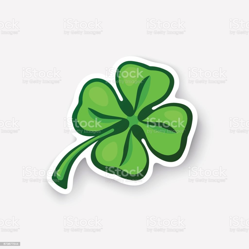Cartoon sticker green clover vector art illustration