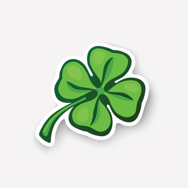Cartoon sticker green clover Vector illustration. Green clover. Lucky quatrefoil. Good luck symbol. Four leaf clover. Cartoon sticker in comic style with contour. Decoration for greeting cards, posters, patches, prints for clothes, emblems shamrock stock illustrations
