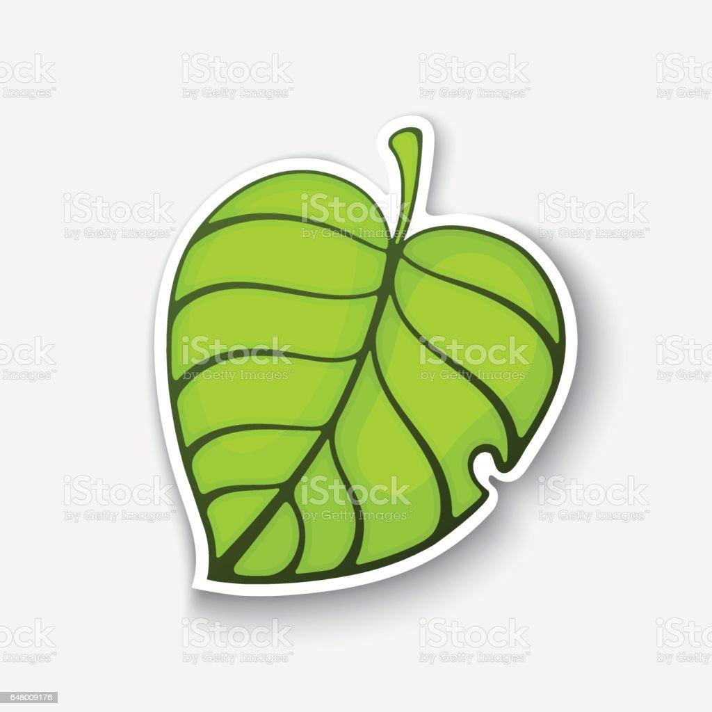 Vetores De Etiqueta Dos Desenhos Animados Com Folha De árvore Verde E Mais Imagens De Arte Istock