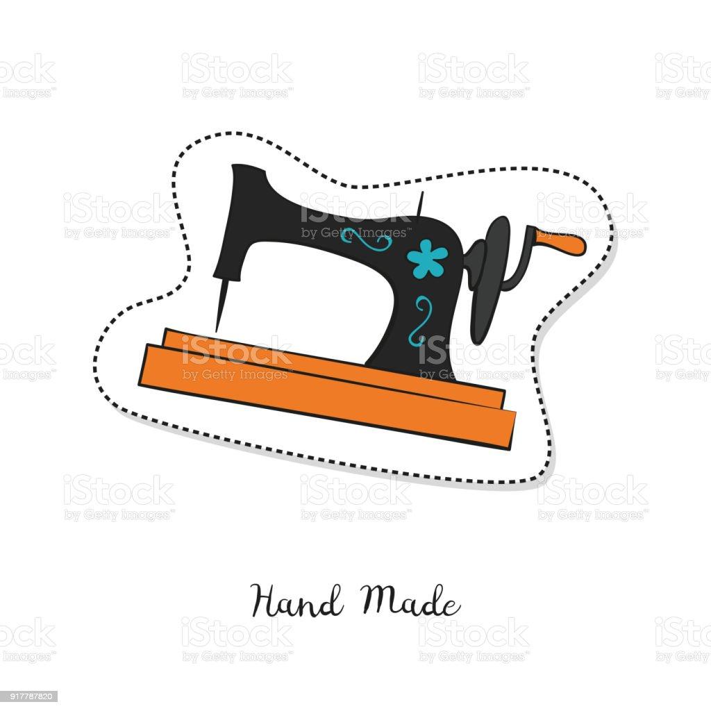Cartoon Sticker With Vintage Sewing Machine On White Background ...