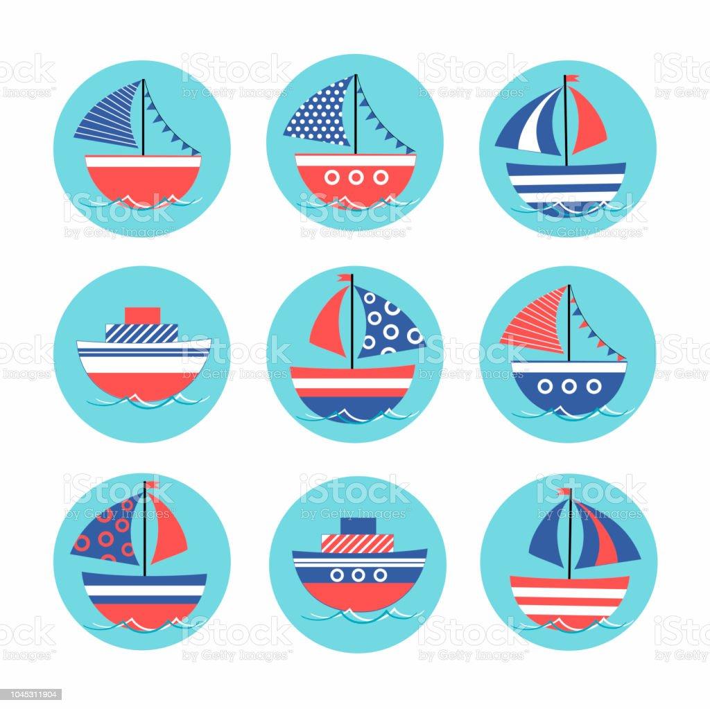 Vetores De Dos Desenhos Animados Adesivos Com Coloridos Barcos No