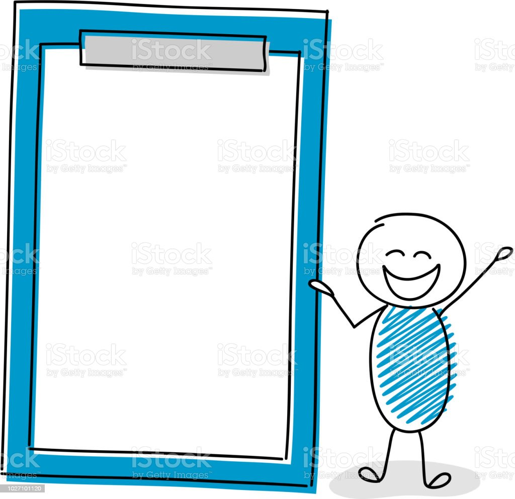 Cartoon stickman with empty clipboard. Vector. vector art illustration