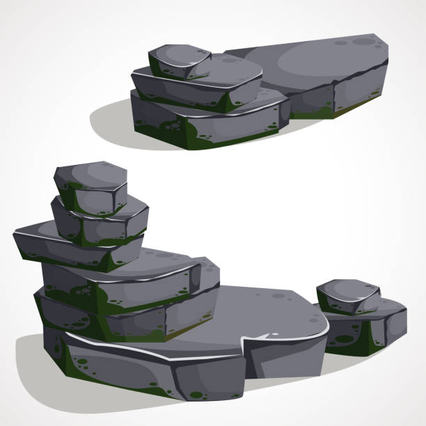 cartoon stone boulders are made one by one - moss stock illustrations