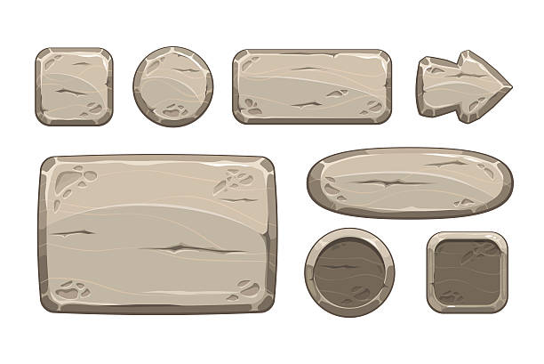 stockillustraties, clipart, cartoons en iconen met cartoon stone game assets set - steen bouwmateriaal