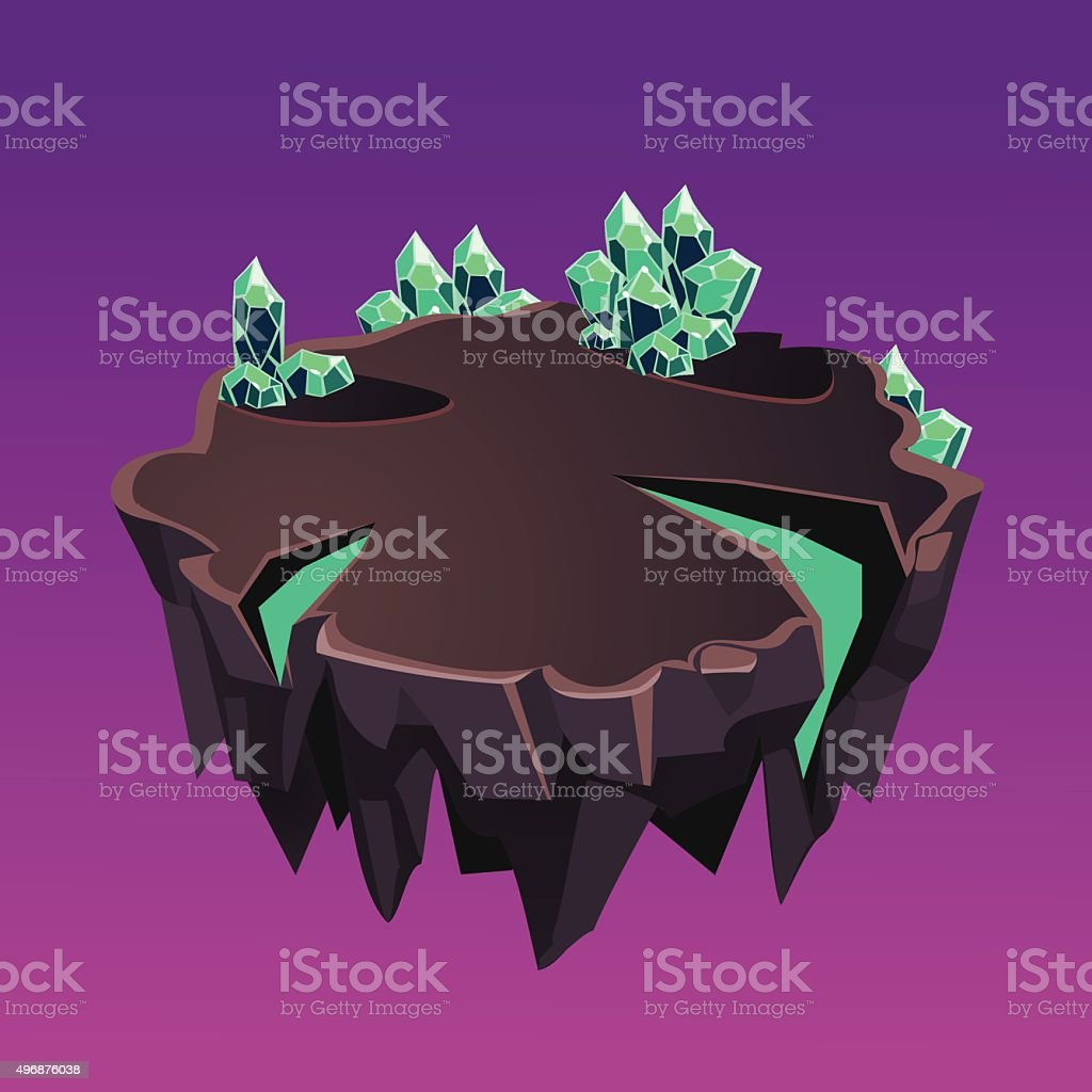 Cartoon Stone Isometric Island with Crystals for Game, Vector Illustration vector art illustration